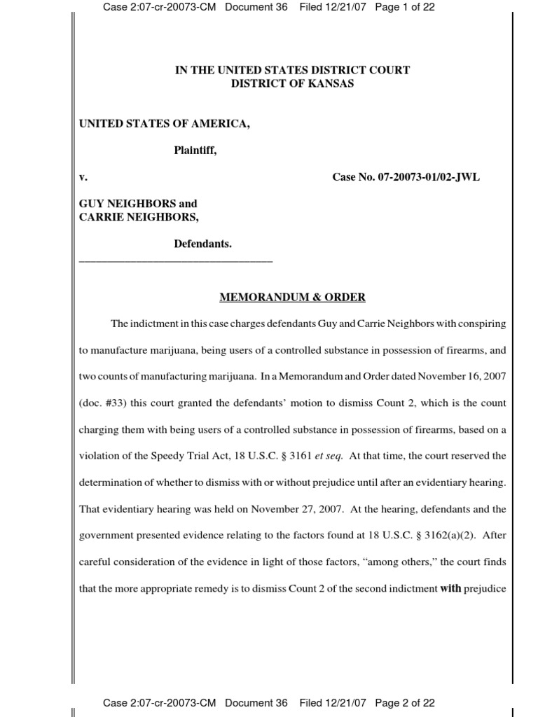 Judge LungStrums Order to Dismiss case against yellow house store owners Guy and Carrie NEighbors