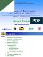 Informe de Transición del Departamento de Transportación y Obras Públicas 2000