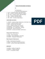 Menu Options Used in Finacle