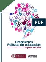 Lineamientos - Política de Educación Superior Inclusiva .Colombia