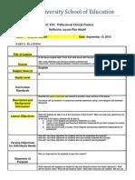 reflective lesson plan model- compare contrast