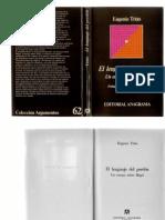 Trias, Eugenio - El Lenguaje Del Perdon. Un Ensayo Sobre Hegel. Ed. Anagrama