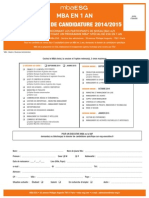 Dossier Candidature MBA ESG 2ans Rentree Octobre 2014