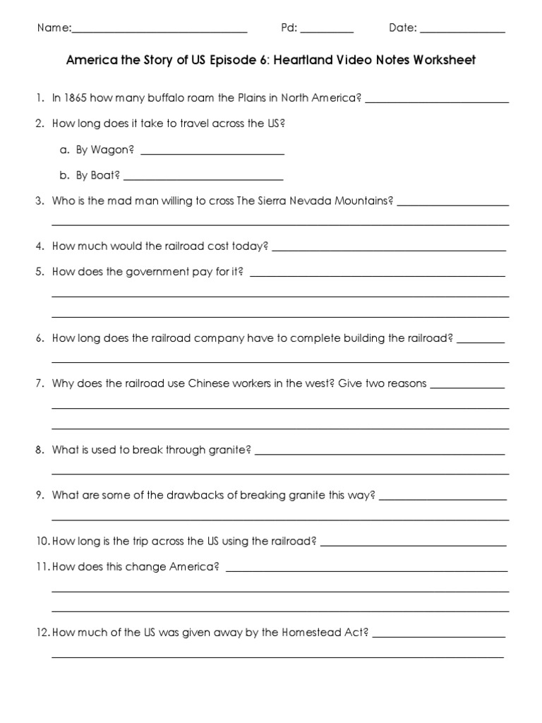 America the story of us heartland video worksheet robcynllc Image collections