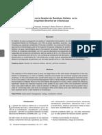 Diagnóstico de La Gestión de Residuos Sólidos en La Municipalidad de Chaclacayo