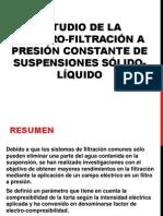 Estudio de La Electro-filtración a Presión Constante De