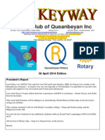 The Keyway - 30 April 2014 edition - Weekly newsletter for the Rotary Club of Queanbeyan