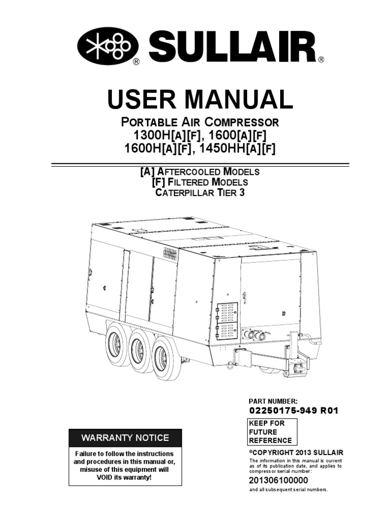 sullair 1600 t3 manual