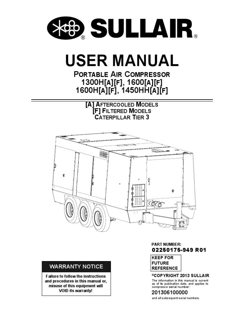 sullair 1600 t3 manual gas compressor mechanical engineering rh es scribd com Sullair 100 Parts Manual Sullair Compressor Parts Book