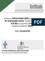 MEI Microempreendedor Individual - Sebrae (03 Horas, Em 09- 2010) - Patrick de Moraes Vicente - Araruama - RJ - Brasil