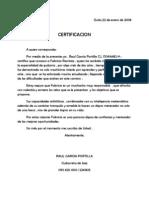 Certificación Fabricio