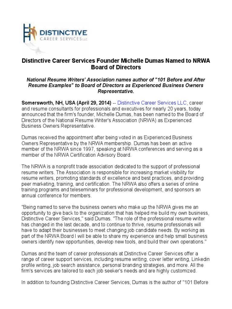distinctive career services founder michelle dumas named to nrwa