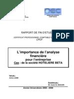 L'Importance de l'Analyse Financière Pour l'Entreprise Cas de La Société HOTELIERE BETA