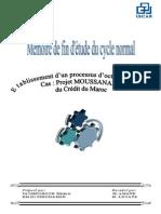 Etablissement Dun Processus Doctroi de Crédit Cas Projet MOUSSANADA Du Crédit Du Maroc