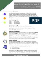 Year 1 Newsletter Summer 2014