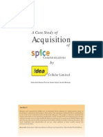 A Case Study of Acquisition of Spice Communications by Isaasdaddea Cellular Limited