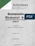 Erich v Falkenhayn - Campania Armatei a 9-a Impotriva Romanilor Si Rusilor - 1916-1917