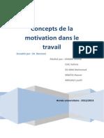 Concepts de La Motivation Dans Le Travail