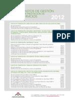Tabla Gastos Gestión de Visados 2012