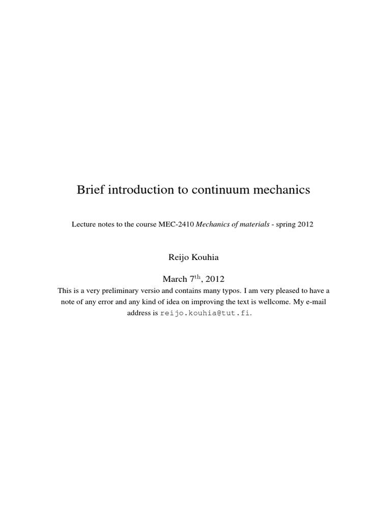 brief introduction to continuum mechanics deviatoric stress and rh scribd com