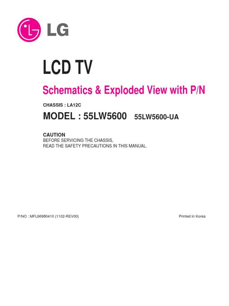 Lcd Tv: Schematics & Exploded View with P/N