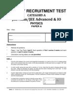 Cat-A Jee Main & Jee Advanced, Io Physics Paper A