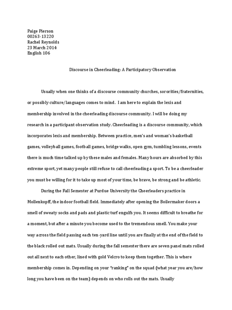 English Literature Essay  Health Promotion Essays also How To Write A High School Application Essay Ethnographic Essay  Cheerleading  Volleyball General Paper Essay