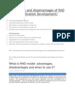 Advantages and Disadvantages of RAD