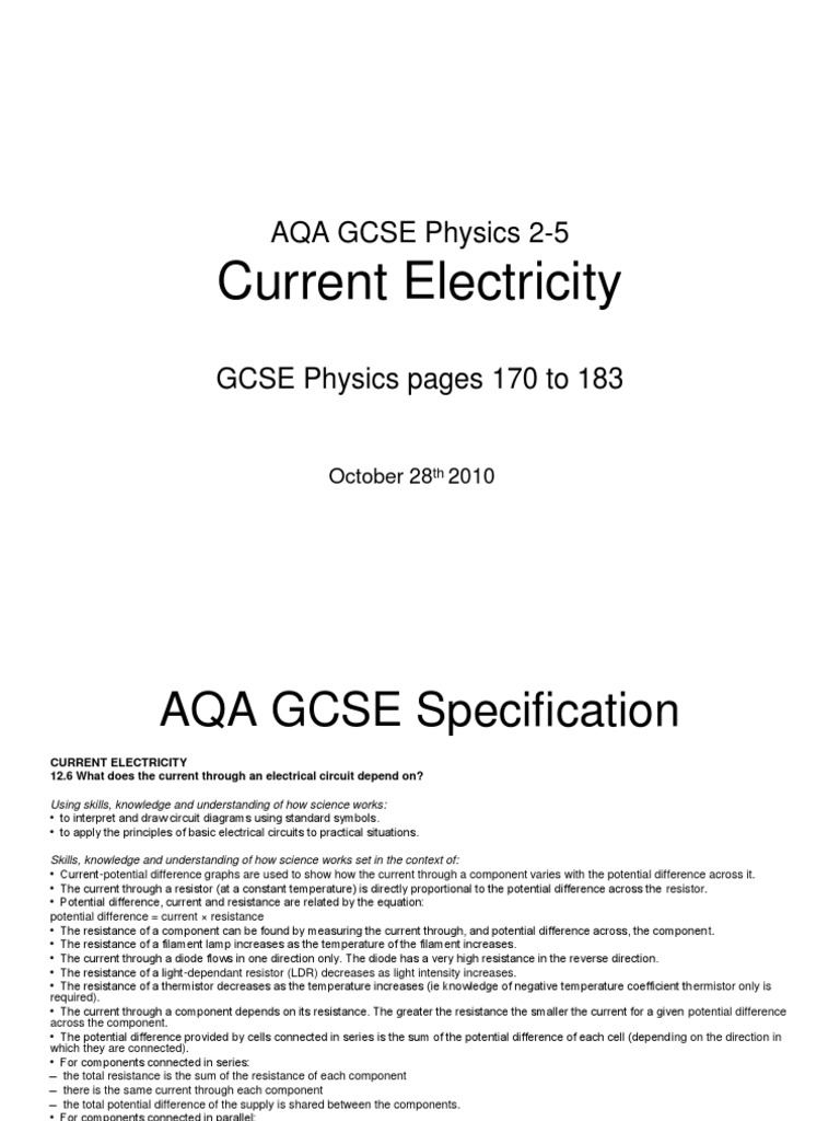 GCSE 25 CurrentElectricity | Series And Parallel Circuits | Electrical  Resistance And Conductance