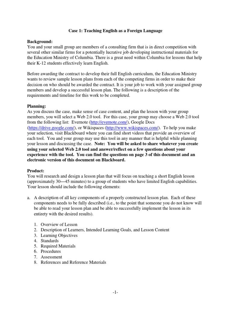 Case 1 Lesson Plan Evaluation