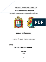 Manual de Costos y Presup. de Obra