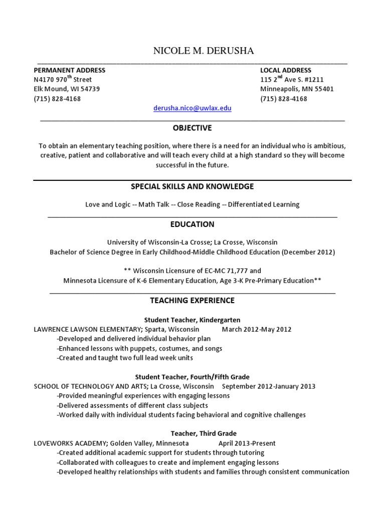 Nicole DeRusha Resume-2 | Teachers | Primary Education