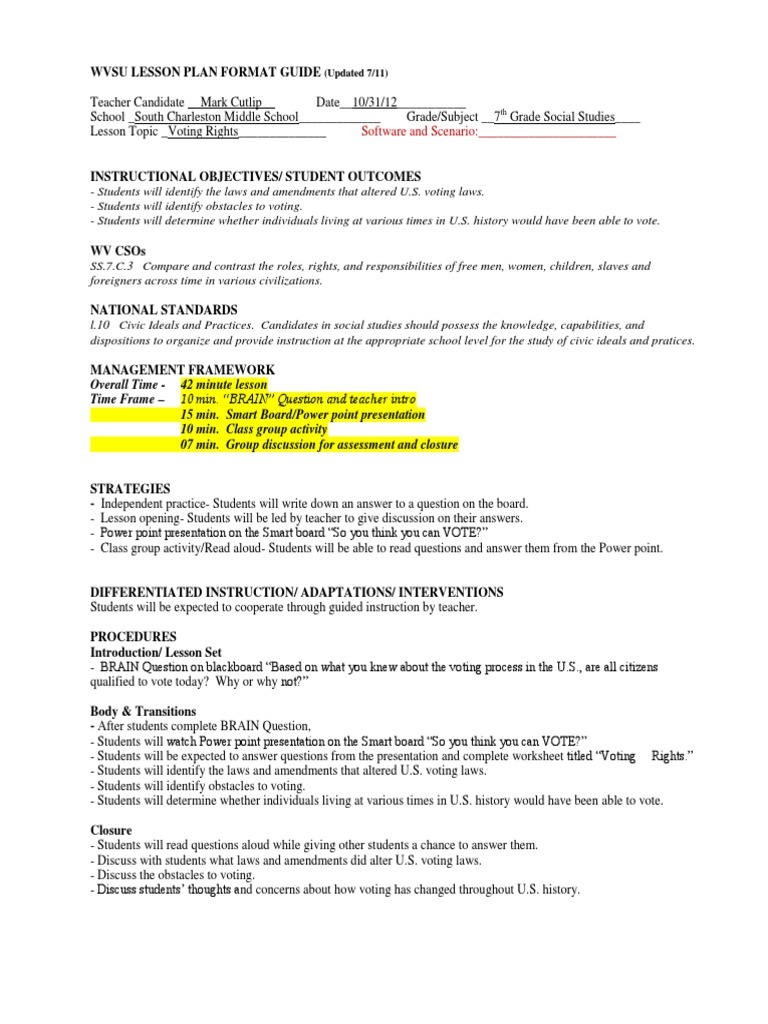Cutlip First Lesson Plan Educational Assessment Lesson Plan