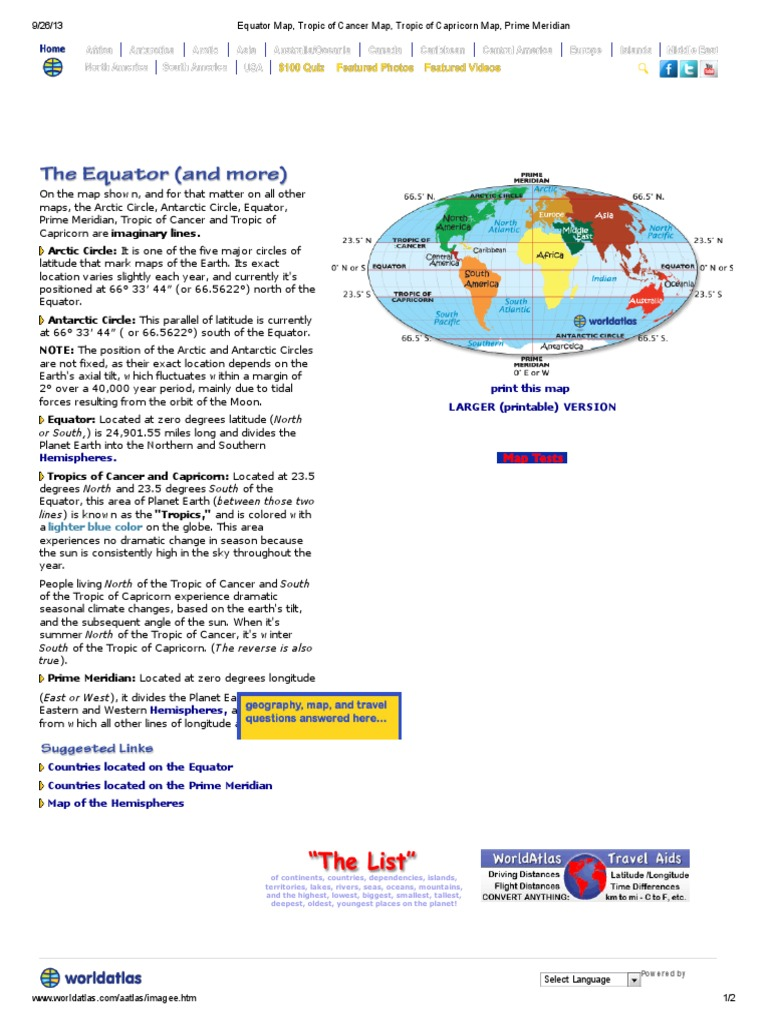 Equator Map, Tropic of Cancer Map, Tropic of Capricorn Map, Prime ...