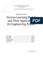 Various Learning Models and Their Applications for Engineering Teams