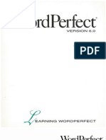 WordPerfect 6.0 for Windows Learning Word Perfect