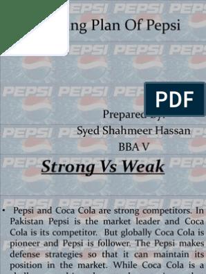Presentation Marketing Plan of Pepsi | Pepsi | The Coca Cola