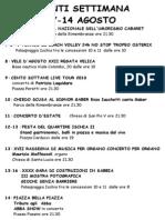 Eventi Settimana. 7-14