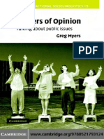 Matters of Opinion Talking About Public Issues Studies in Interactional Sociolinguistics