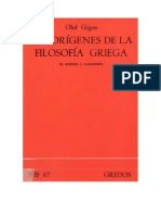 Olof Gigon - Los Orígenes de La Filosofía Griega