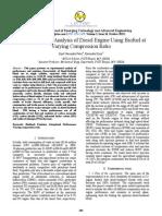 Effect of compression ratio on Bio Diesel