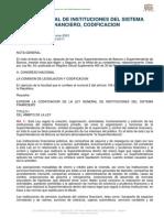 Ley General de Instituciones Del Sistema Financiero, Codific