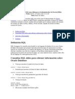 Consultas SQL Para El Administrador de Oracle