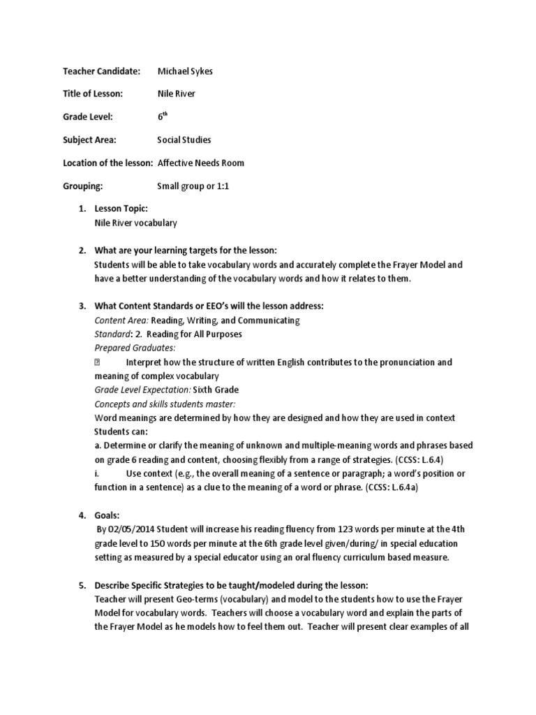 vocabulary lesson frayer model | Vocabulary | Reading (Process)
