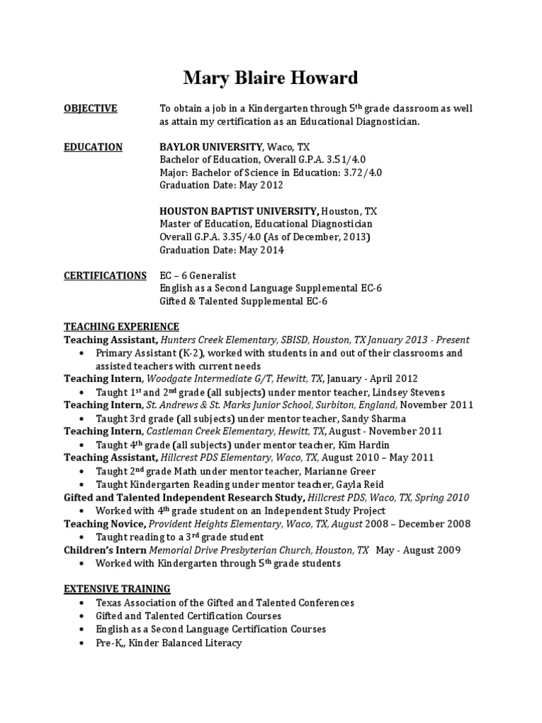 Blaire howard resume modified gifted education teachers 1betcityfo Image collections