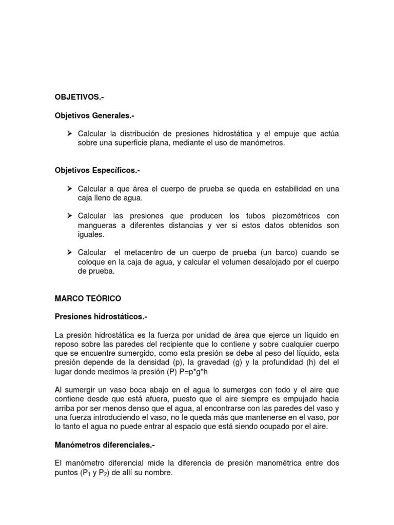 Informe 1 de Hidraulica 1