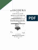 Gilles Boucher de LA RICHARDERIE - Discours Sur l'Utilité Des Lettres (1753)