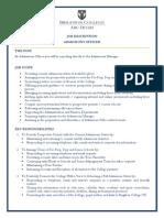Job Role - Admissoin Officer