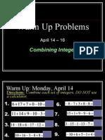 warm ups - april 14 - 16 no ans