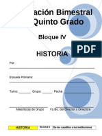 Plan - 5to Grado - Bloque IV - Historia